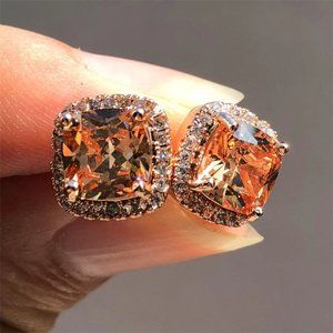 New Rose Gold Morganite Diamond Halo Stud Earrings
